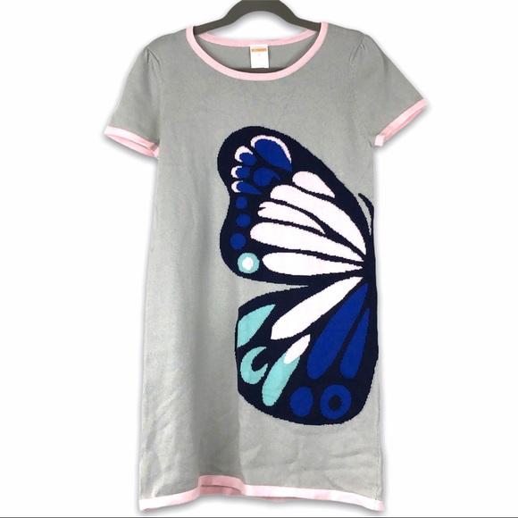 Gymboree Gray Butterfly Thin Sweater Dress Size 8
